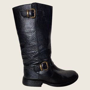 Steve Madden Frenchh Black Mid Calf Pebbled Leather Motorcycle Boots